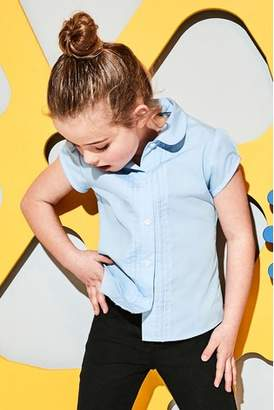 Next Girls Blue Short Sleeve Lace Trim Blouse (3-14yrs)