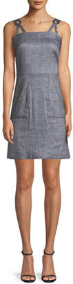 Milly Linen-Blend Stretch-Denim Apron Dress
