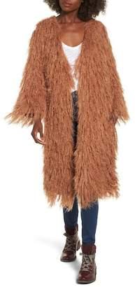 Moon River Shaggy Faux Fur Car Coat
