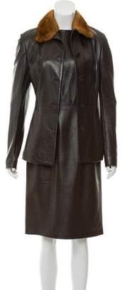 Dolce & Gabbana Fur-Trimmed Leather Dress Set