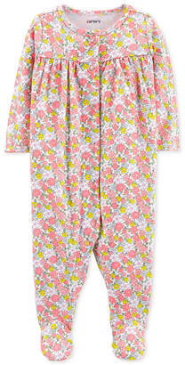 Carter's Carter Baby Girls Floral-Print Cotton Coverall