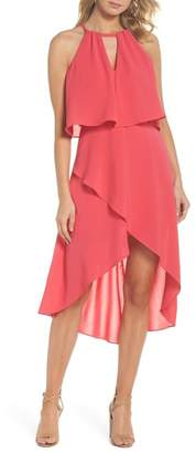 Adrianna Papell Crepe Popover High\u002FLow Dress