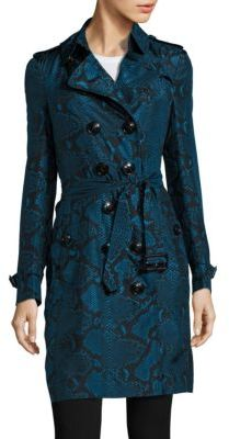 Burberry Sandringham Python Print Silk Trench Coat $2,395 thestylecure.com