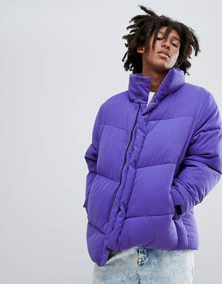 Asos Design DESIGN oversized puffer jacket in purple