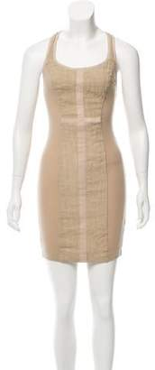 Illia Leather-Accented Linen Dress w/ Tags