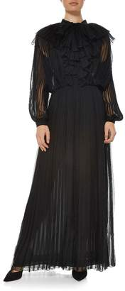 Chanel Black Silk Pleated Gown