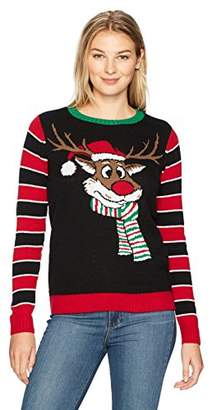 Ugly Christmas Sweater Company Women's Reindeer W/Back Embroidery Detail Sweater