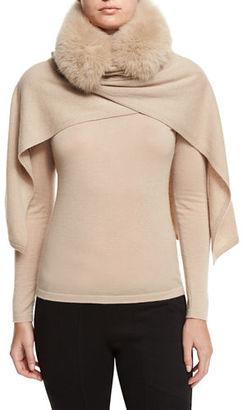 Neiman Marcus Cashmere Collection Fox Fur-Trimmed Cashmere Shawl $495 thestylecure.com