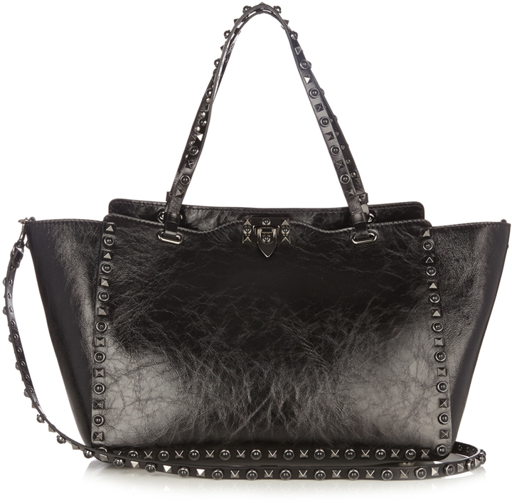 Valentino VALENTINO Rockstud Rolling cracked-leather tote