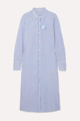 Alex Mill Standard Appliquéd Striped Cotton-voile Midi Dress - Blue