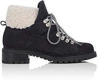 Barneys New York Women's Suede & Shearling Lace-Up Ankle Boots - Navy