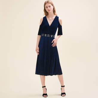Maje Pleated off-the-shoulder dress
