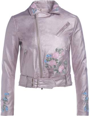 Twin-Set Twinset Metallized Pink Studded Jacket With Floreal Embroidery