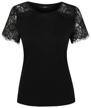 George Black Lace Panel Jersey Top