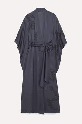 Carine Gilson Appliquéd Embroidered Silk Crepe De Chine Robe - Midnight blue