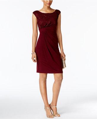 Connected Sequin Lace Faux-Wrap Dress $79 thestylecure.com