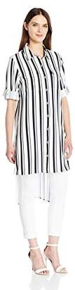 Calvin Klein Women's Striped Roll Sleeve Tunic