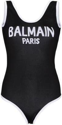 Balmain Scoop back logo bodysuit