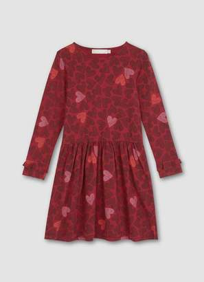 Mint Velvet Berry Heart Print Ruffle Dress