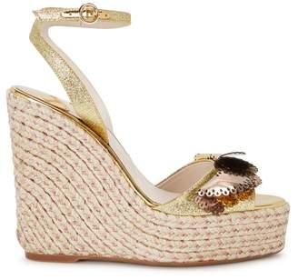 Sophia Webster Soleil Lucita Glittered Espadrille Wedge Sandals