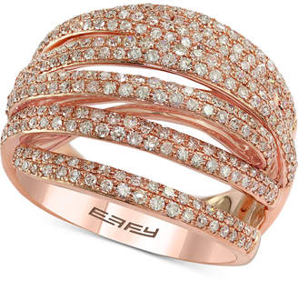 Effy Diamond Multi-Band Overlap Statement Ring (1 ct. t.w.) in 14k Rose Gold