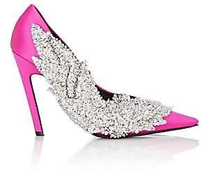 Balenciaga Women's Leaf-Appliqué Satin Pumps-Rose Pink