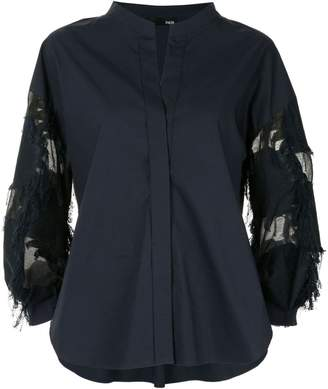 Frei Ea mandarin collar sheer panel shirt