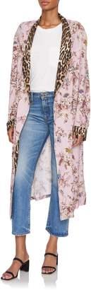 R 13 Denim Floral-Print Silk-Voile Smoking Robe