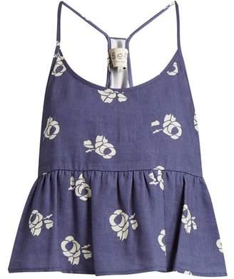 Sea Geometric Floral Print Cotton Blend Cropped Top - Womens - Blue White
