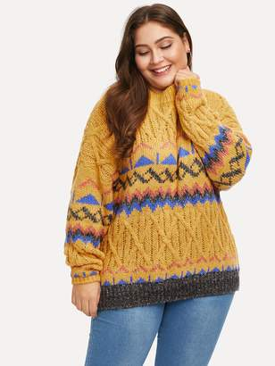 Shein Plus Drop-shoulder Chevron Pattern Sweater