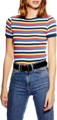 Topshop Stripe Scallop Tee