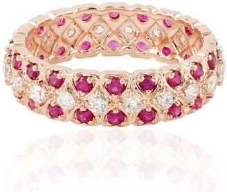 Artisan Heart Shape Eternity Band In 18K Rose Gold With Ruby & Diamonds