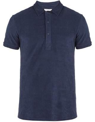 Orlebar Brown Sebastian Terry Towelling Cotton Polo Shirt - Mens - Navy