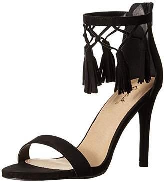 Qupid Women's High Heel Open Toe Ankle Strap Fringe Tassel Evening Party Casual Single Sole Grammy-123X Dress Sandal