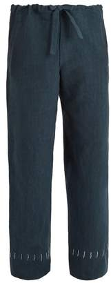 Hecho - Drawstring Waist Straight Leg Linen Trousers - Mens - Blue