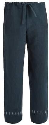 Hecho - Drawstring Waist Straight Leg Linen Trousers - Mens - Blue