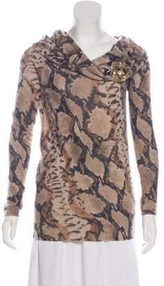 Blumarine Embellished Wool-Blend Sweater Brown Embellished Wool-Blend Sweater
