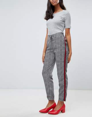 Brave Soul Tape Check Trousers with Side Stripe