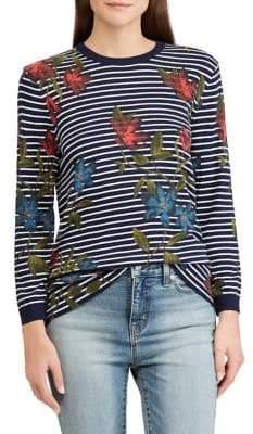 Lauren Ralph Lauren Petite Floral-Print Striped Top