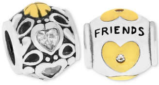 Rhona Sutton Two-Tone 2-Pc. Set Cubic Zirconia Hearts & Friends Bead Charms in Sterling Silver