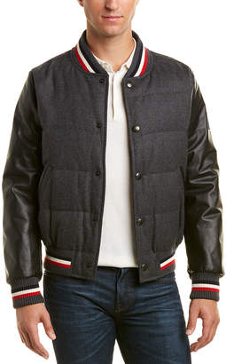 Moncler Leather-Trim Wool Bomber Jacket