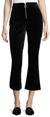 Frame High-Waist Velvet O-Ring Zip Flare Pants