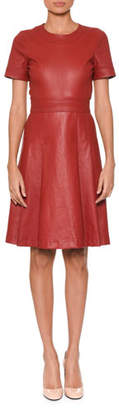 Bottega Veneta Short-Sleeve Round-Neck Fit-and-Flare Napa Leather Dress