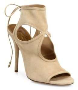 Aquazzura Sexy Thing Cutout Suede Tie-Back Sandals $565 thestylecure.com