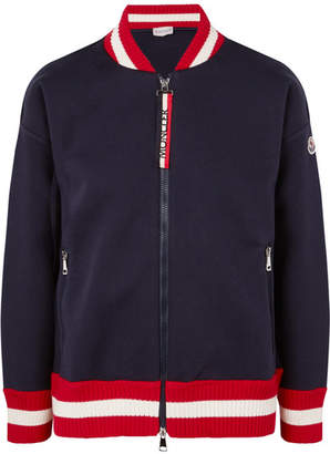 Moncler Ribbed Knit-trimmed Cotton-neoprene Bomber Jacket