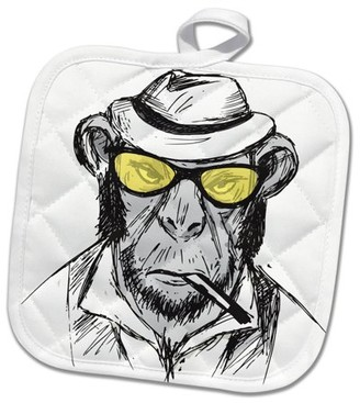 3dRose Sketch Chimp With Yellow Sunglasses And A Hat Funny - Pot Holder, 8 by 8-inch