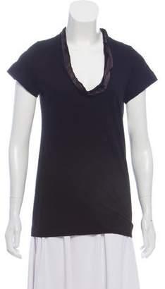 Sacai Luck Satin-Trimmed Short Sleeve T-Shirt