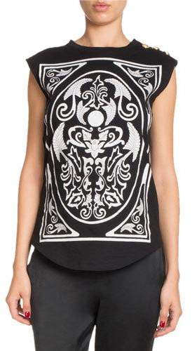 Balmain Sleeveless Baroque-Print Tank Top with Button-Shoulder Detail