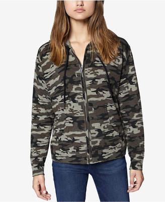 Sanctuary Camo-Print Zip-Front Hooded Sweatshirt