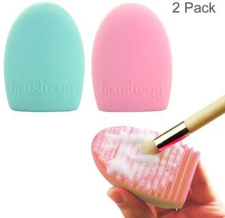 ArRord Multifuntional Cleaning Cosmetic Makeup Brush Tool Face Massage Tool Silicone Foundation Cleaner Finger Glove Green and Pink